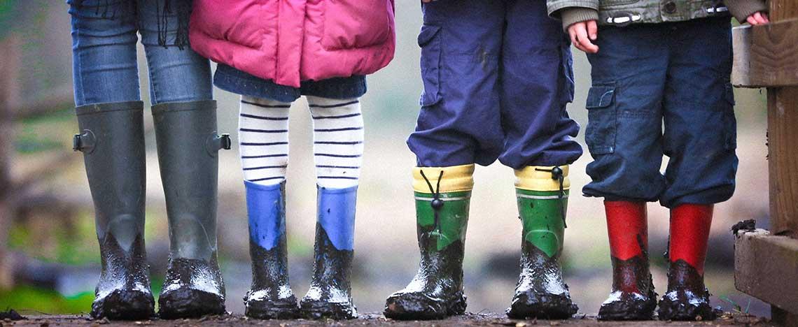 Children in muddy wellies NHS LTP post
